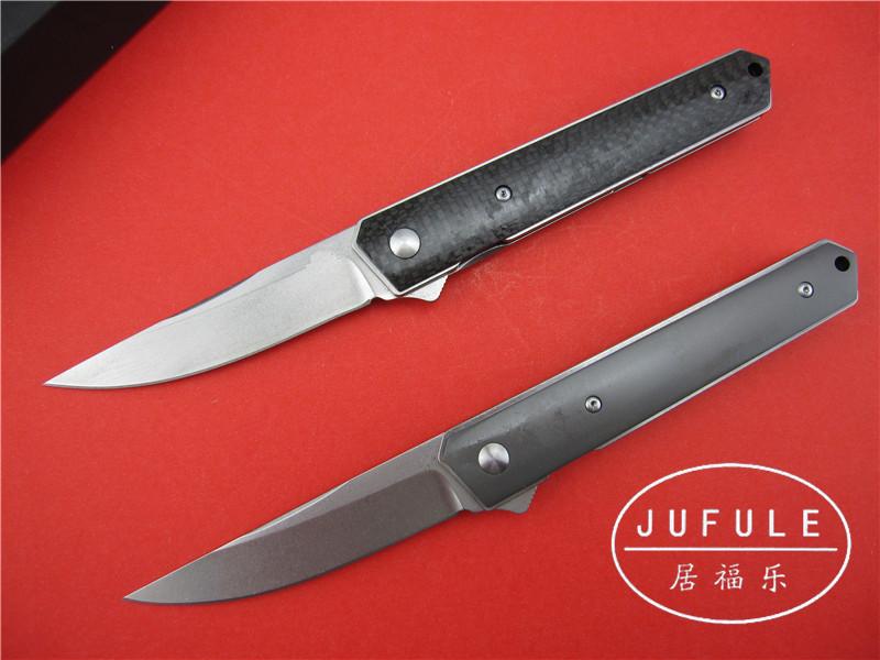 Buy JUFULE 2017 Kwaiken ball bearing Flipper folding knife VG 10 blade Titanium carbon fiber kitchen camping hunting knives EDC tool cheap