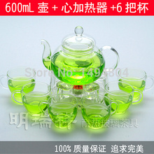 Glass Teapot 600ML Glass Tea / Coffee Pot,Tea Sets(6 Tea Cups+Heat-resistant Glass Teapot)Pote De Vidro Tea Kettle/Teapot Teaset