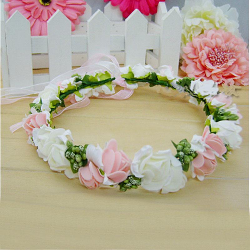 2016 Stylish 10pcs Women Wedding Rose Flower Wreath Headband Floral Garlands Hairband Flower Crown Hair Accessories Color Random(China (Mainland))