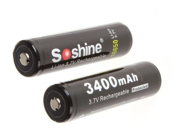 2pcs High Capacity Soshine 18650 3 7V 3400mAh Rechargeble Battery Protected High Discharge Li ion Batteries