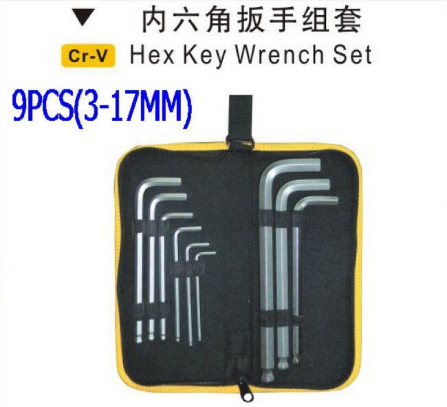 SunRed BESTIR taiwan CRV steel 8pcs(3-17)mm ball point bike allen wrench hex key set hand tools NO.94503 freeshipping(China (Mainland))
