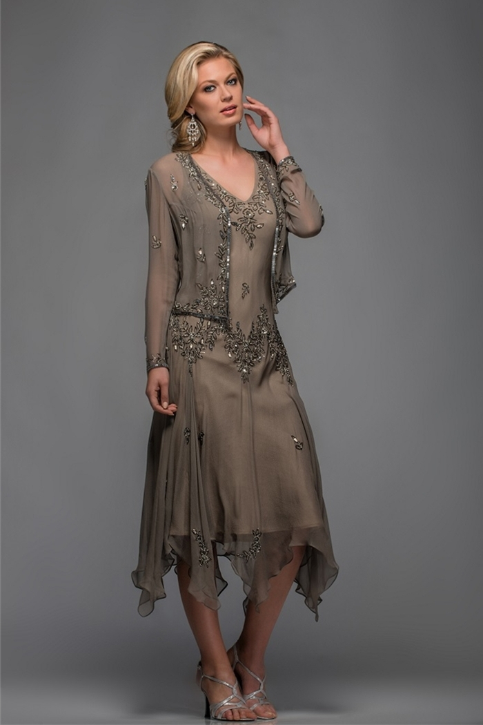 Popular Mother of The Bride Tea Length Dress with Jacket-Buy Cheap ...