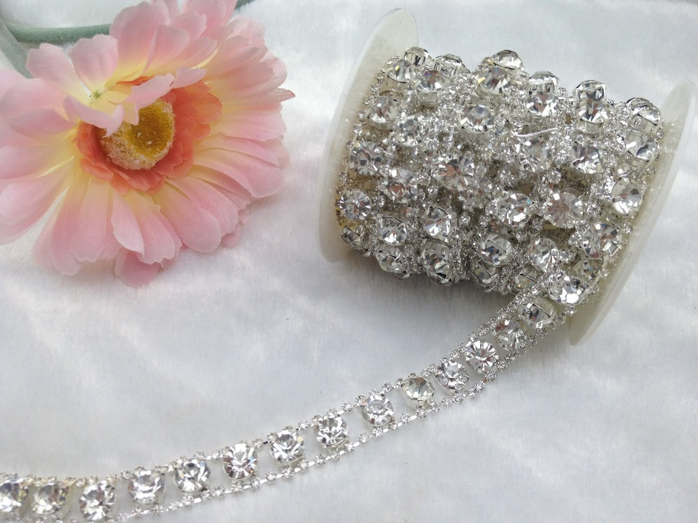 1 Yard 2 Rows 2.5mm Costume Applique Clear Crystal Rhinestone Silver Chain Trims(China (Mainland))