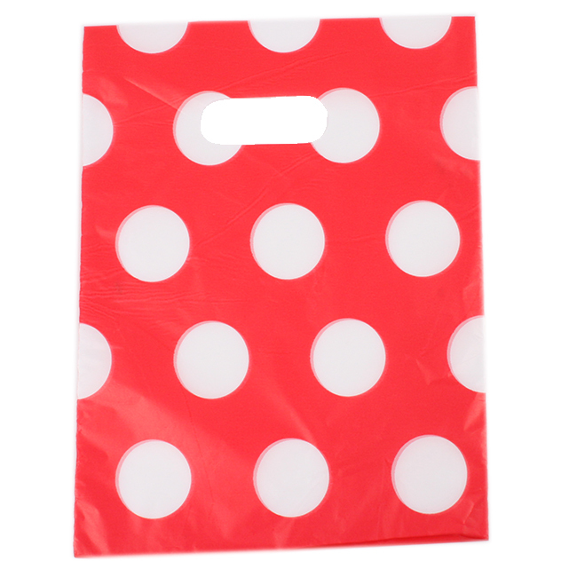180pcs/lot White Round Dots Red Plastic Shopping Bags Plastic Carrier Bags Packing Bags 20*15.8cm 500006(China (Mainland))
