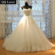QQ Lover 2017 Vestido De Noiva Princess Tube Top Beading Bride Wedding Dress Plus Size Wedding Gown Custom-made(China (Mainland))