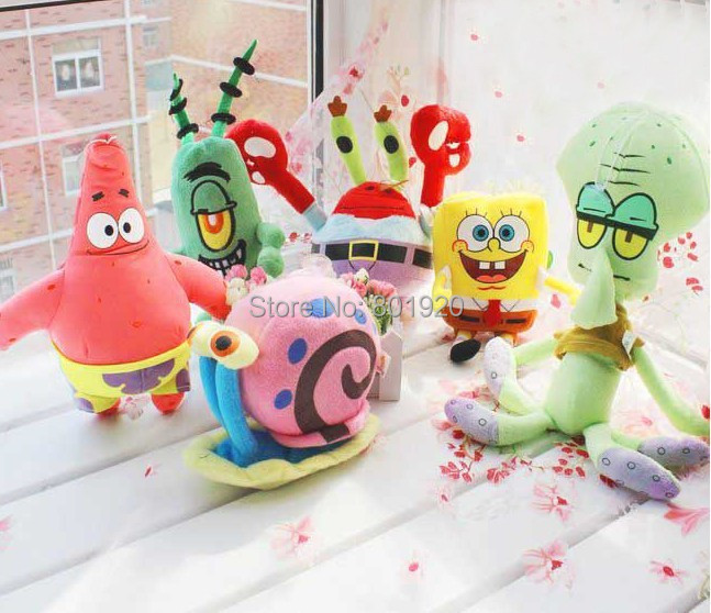 6pcs/lot SpongeBob Plush Toys Kids Cartoon Movie Characters Christmas Birthday Gift Toys Stuffed Plush Animals(China (Mainland))