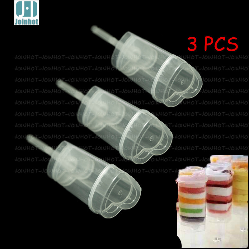 3PCS hearts Shaped Empty Push Up Pop Cake Containers for Cupcake Shooters with Lid(China (Mainland))