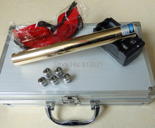 Full brass housing 2000000mw 200W focusable 450nm burning match/paper/dry wood/candle/black+Glasses+Charger+box