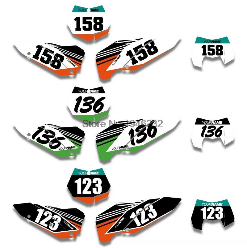 Custom Backgrounds Number Plate Graphics Sticker & Decals Kit KTM SX SXF 2007 2008 2009 2010 XC EXC - Cnc Motocross Parts store