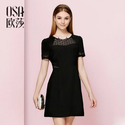 OSA 2015 summer style new slim waist women openwork lace dress Casual Dresses maxi plus size short sleeve dress SL523054(China (Mainland))