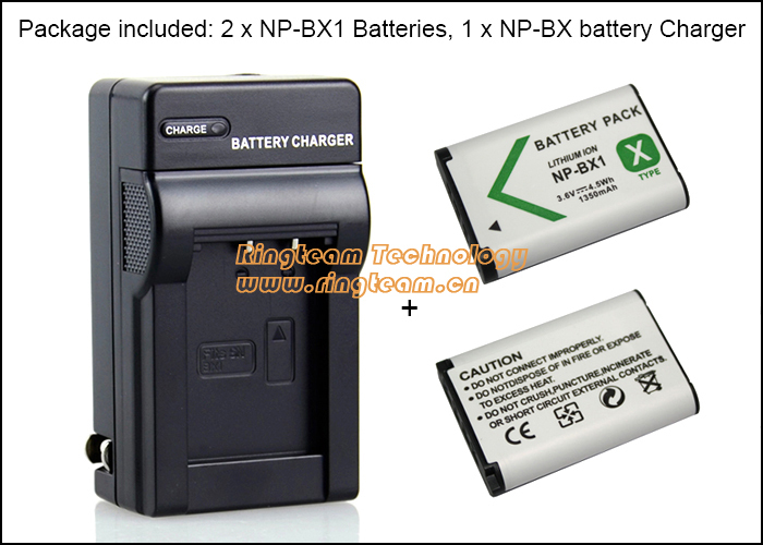 2x NP-BX1 Battery + 1x NPBX1 Travel charger for Sony DSC-RX1 RX1R RX100 WX350 H400 HX50V HDR-AS10 AS15 AS100 CX240 PJ275 Cameras(China (Mainland))