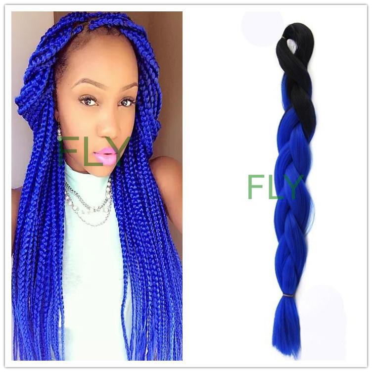 (10pcs/lot) FREE Shipping 24inch 100g Black&Diamond blue Ombre Two Tone Coloured Kanekalon Jumbo Synthetic Braiding Hair(China (Mainland))