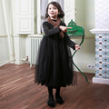 Korean Version Thickening Girls Winter Dress Plus Velvet Long Sleeve Black Kids Girls Princess Dress Mesh