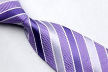 ST008 Fashion Jacquard Woven Silk Smooth Tie Gravata Purple White Stripes Neckties For Man Casual Business