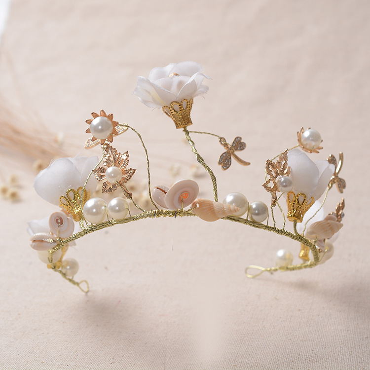 2016 New Fashion Charming White Flower Pearl Bride Diadem Handmade Rhinestone Crown for Women Wedding hair jewelry accessories(China (Mainland))