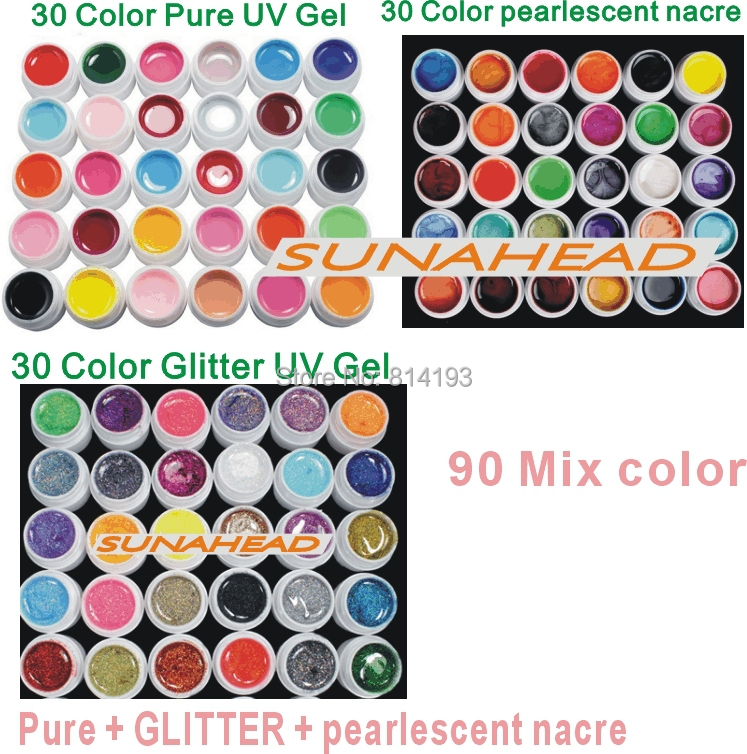 2014 new 90 Mix color nail art uv gel polish , Pure + pearlescent nacre Glitter colors tools Solid Builder set kit drop