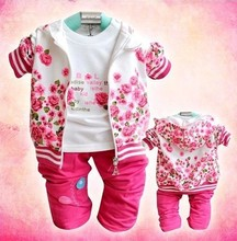Retail autumn baby Girl's 3pcs Rose flower suits sets custome casual Children's set hoody jacket long sleeve t shirts + trousers(China (Mainland))