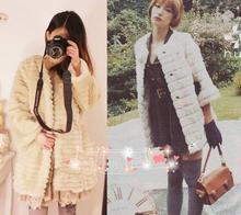 Winter Fashion Outwears Women Cardigan Coat black and white fur overcoat Women's Clothing > Coats & Jackets > Fur & Faux Fur(China (Mainland))