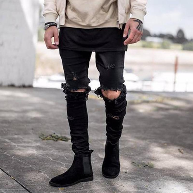 Wholesale & retail black blue men Ripped skinny jeans fashion man hole hip-hop biker YEEZY Jeans Kanye West denim Cargo pants(China (Mainland))