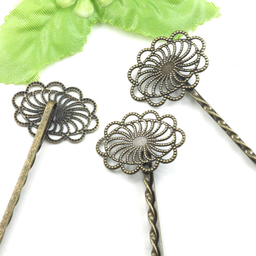 Hot Selling~Antique Bronze With 20*26mm Filigree Wrap Pad Bobby Hair pin clips Jewelry Findings Accessories(China (Mainland))