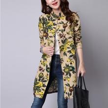 Women Blouses 2015 Spring Autumn print Long sleeve Shirt cotton Linen Women tops casual MD-LONG shirts Female(China (Mainland))