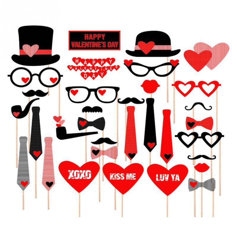 DIY 32PCS Set Funny Masks Heart Mustache Photo Booth Props Mustache Wedding Birthday Party Decor(China (Mainland))