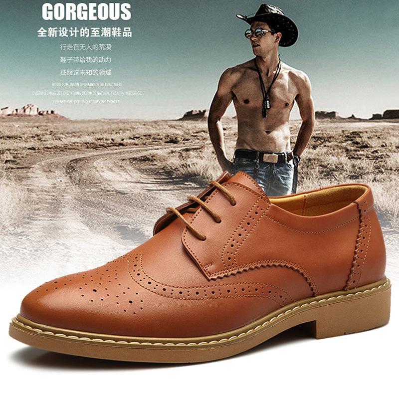 British style Brand Classic men's Oxfords shoes mens Dress Business shoes flats 100% genuine leather shoes british style shoes