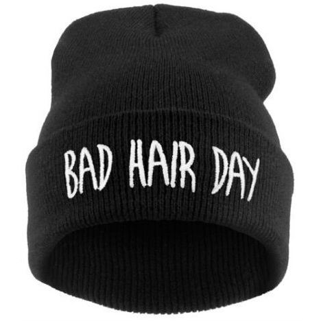 Hot sale fashion winter casual women hat bad hair days Knitted Soft Elastic skullies beanie hats