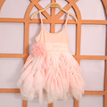 2016 Kids Girls Singlet Lace dresses Baby girl Ruffle princess dress Girl Flower Bowknot Dress babies