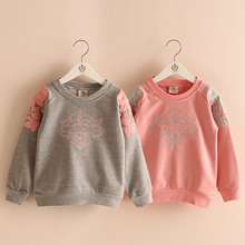 baby girl clothes embroidery sweatshirt new 2016 spring children's clothing girls clothing outerwear(China (Mainland))