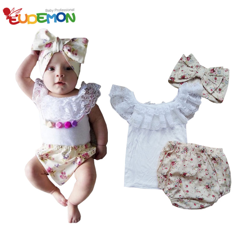[Eudemon] baby girl clothes 3 pcs 1 sets Baby Headband Baby Vest Baby PP Pants Infant Clothing Sets toddler Summer Clothes(China (Mainland))