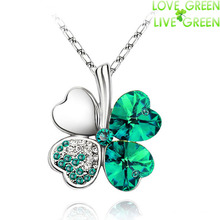 $ 0.99 promotion factory hotsell 18KGP Austrian Crystal four Leaf Leaves Clover heart rhinestones necklace pendant jewelry 9554(China (Mainland))