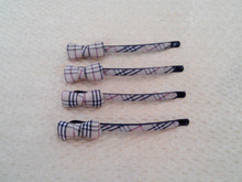 4pcs Lot Pretty Plaid Bow Bobby Pins Grid Hair Holder Barrette Check Hair Accessories(China (Mainland))