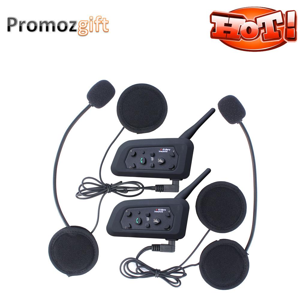 Hot ! 2 PCS V6 1200M Helmet Intercom Full Duplex Motorcycle Bluetooth Intercom Headset Walkie Talkie Intercom intercom v6(China (Mainland))