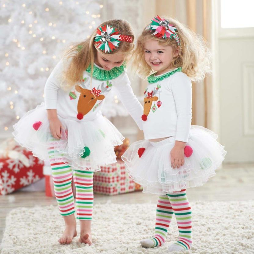 Cute Deer Babys Christmas Clothes Long-Sleeve coat  Kids Striped Skirtpants Suits Foral Lace Princess  Party Dress Ruched Neck<br><br>Aliexpress