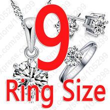 Giemi Klassische Frau Geburtstag Geschenk Hochzeit Schmuck Set 3 teil/satz Mode 925 Sterling Silber Weiß Kristall Halskette Ring Ohrring(China)