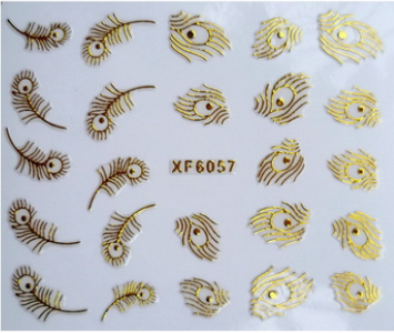1pc Nail art 3D gold foil sticker Golden feathers sticker Harajuku short bride patch applique diy Nail Polish stickers nail tool(China (Mainland))