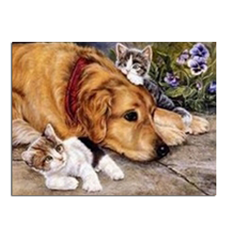 Dog and cat 80x60cm New 100% Full Area Highlight Diamond Needlework Diy Diamond Painting Kit 3D Diamond Cross Stitch Embroidery(China (Mainland))