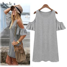 Women Summer Dress Sexy Butterfly Sleeve Strap Off Shoulder Vest Dress Gray, Black Plus Size M-5XL(China (Mainland))
