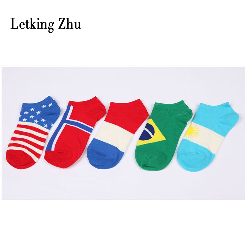 Letking Zhu152 10pcs=5pairs/lot Flags of world men socks 2016 fashion meias week socks sport casual cotton high quality socks(China (Mainland))