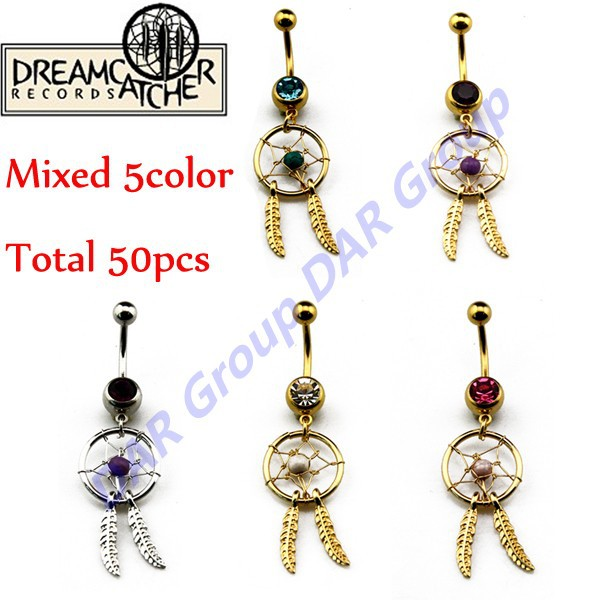150PCS/LOT Women Body Jewelry Of 2015 Surgical Steel Dream Catcher Dangling Navel Rings Belly Body Piercing Button Barbell<br><br>Aliexpress