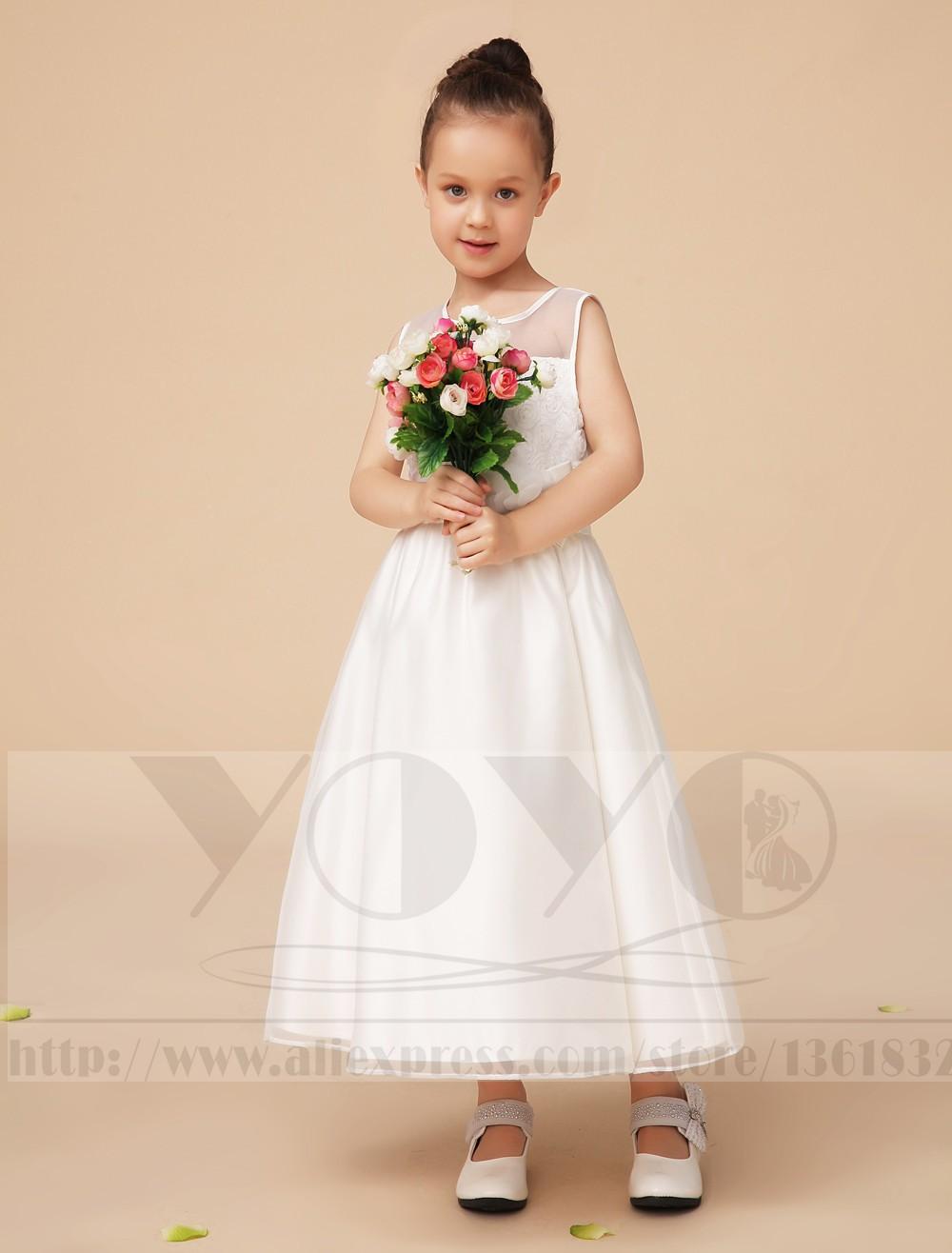 Скидки на Довольно линия свадьба цветочница платье с кружевной вышивки и створки дети маленькие девочки вечерние платья