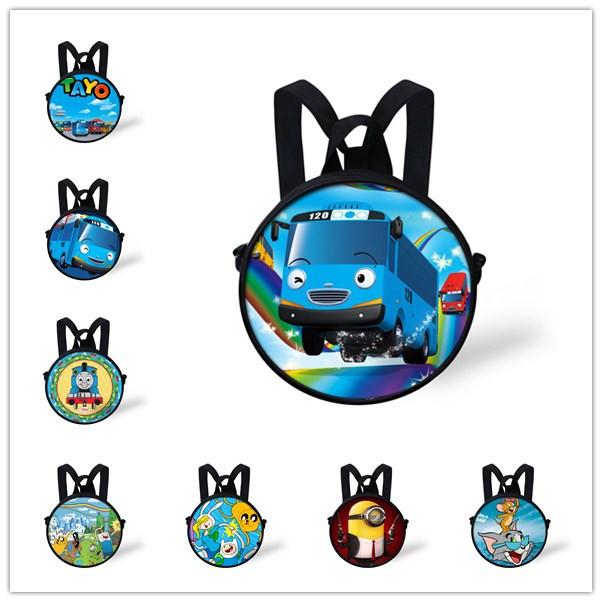 Fashion Small Round Toya Cartoon Little Bus Bag Boys Girls School Bags, New Kindergarten Baby Shoulder Bag Kids Mochila Infantil(China (Mainland))