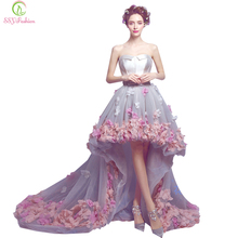 Vestidos SSYFashion Sexy Strapless Sleeveless Short Front Back Long Lace Flower Evening Dress Bride Banquet Formal Party Gown(China (Mainland))