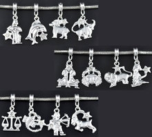 24 Mixed Silver Plated Clear Rhinestone Zodiac European Charm Dangling Pendants (China (Mainland))