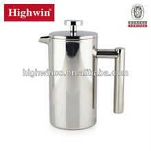 Export factory direct sale 1L double wall Stainless Steel FDA coffee pot,coffee press,coffee plunger with filter