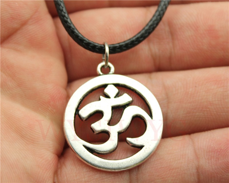 WYSIWYG fashion 3 colors antique gold, antique bronze, antique silver tone OM pendant leather chain necklace(China (Mainland))