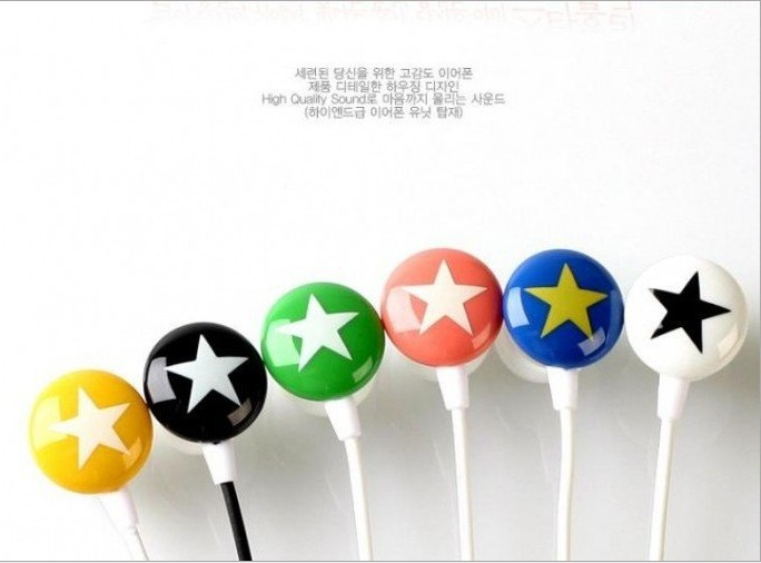 top 500pcs 100% new brand top-quality cartoon little star pattern earphone pentagram headphone best price(China (Mainland))