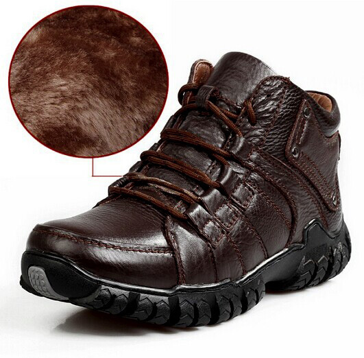 2015 Winter Shoes New Stylish Men's OutDoor Lace-Up Warm Plush Fur Cow Leather Waterproof mens shoes leather - licaixia store
