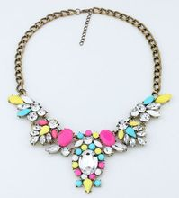 Summer Jewelry Fashion 6 Colors Brand Flower Choker Luxury Statement Rhinestone Necklaces For Women 2015 Necklaces & Pendants(China (Mainland))